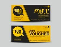 Vale de regalo amarillo, diseño de la cupón, boleto, plantilla de la bandera, tarjetas Fotos de archivo libres de regalías