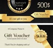 Vale de regalo Cinta e insignia del oro en un fondo elegante Foto de archivo libre de regalías