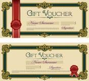 Vale de regalo con verde real del sello Foto de archivo libre de regalías