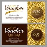 Vale de regalo del vector con el modelo chispeante de oro Imagen de archivo libre de regalías