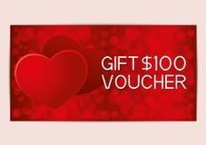 Vale de regalo rojo del día de tarjetas del día de San Valentín stock de ilustración