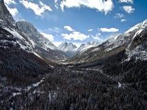 Vale de Shuangqiao, Sichuan, China tomada do zangão fotos de stock royalty free