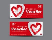 Vale del descuento del día del ` s de la tarjeta del día de San Valentín, disposición de la plantilla del vale de regalo, diseño  stock de ilustración
