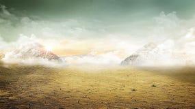 Vale do deserto abaixo das montanhas com folha de prova do vintage Imagens de Stock