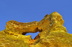 Vale Do Olival Beach Rock formation in Portugal Stock Image