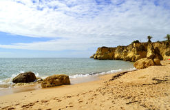 Vale Do Olival Beach. Spectacular cliffs in Portugal Royalty Free Stock Photo