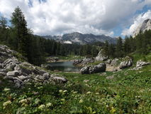 Vale dos lagos Triglav (jezer de Dolina Triglavskih) Fotos de Stock Royalty Free