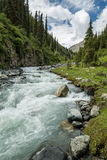Vale em Quirguizistão, montanhas de Karakol de Tian Shan Imagens de Stock