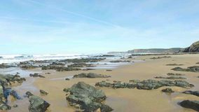 Vale Figueiras beach in Portugal. Europe stock video footage