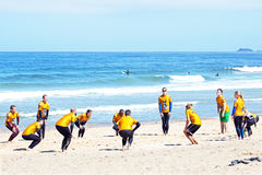 VALE FIGUEIRAS, PORTUGAL - August 20 2014: Surfers doing excersi Stock Images