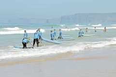 VALE FIGUEIRAS, PORTUGAL - Surfers getting surf classes Stock Photography