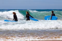 VALE FIGUEIRAS, PORTUGAL - 14th MAY 2017: Surfers getting surfer. S lessons at Vale Figueiras beach in Portugal on may 14 2017 Royalty Free Stock Photo