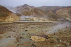 Vale geotérmica Kerlingarfjoll, Islândia Fotos de Stock