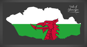 Vale of Glamorgan Wales map with Welsh national fla Stock Photo