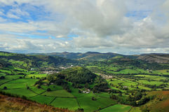 Vale of Llangollen view from above on a hilltop to the east. Sunshine and clouds with the panorama to the left of shot Royalty Free Stock Photos