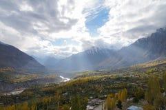 Vale no outono, Paquistão do norte de Hunza Fotografia de Stock Royalty Free