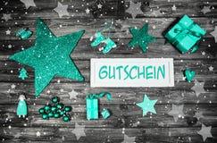 Vale o cupón de la Navidad con el texto en lengua alemana con el MI Imágenes de archivo libres de regalías