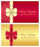 Vale-oferta lustroso vermelho com fita de creme ilustração royalty free