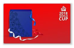 Vale-oferta 2018 vermelho do campeonato do mundo do futebol Ilustração Stock