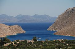 Vale of Pedi, Symi island. Looking down the Vale of Pedi on the Greek island of Symi Stock Photography