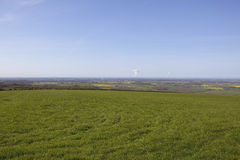 Vale of york. Scenic view of the vale of york england with grass meadows patchwork fields and hedgerows under a blue sky in late springtime Royalty Free Stock Image