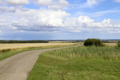 Vale of york vista. A concrete section of a bridleway overlooking the vale of york with woodland and hedgerows under a blue summer sky in the yorkshire wolds Stock Photography