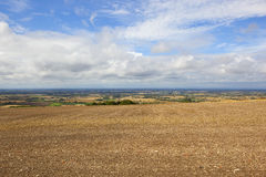 Vale of york vista. Scenic vale of york vista from a cultivated hillside field under a blue cloudy sky in summer Stock Images