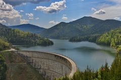 Close view of the Valea Draganului - Floroiu lake and dam. Royalty Free Stock Images