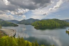 Landscape of the Valea Draganului - Floroiu lake and dam. Stock Images