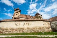 Valea Viilor农村教会在特兰西瓦尼亚,罗马尼亚 图库摄影