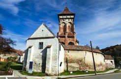 Valea Viilor,在罗马的特兰西瓦尼亚地标被加强的教会  免版税库存图片