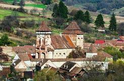 Valea Viilor,在罗马的特兰西瓦尼亚地标被加强的教会  库存照片