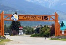 Valemount, BC镇标志 免版税图库摄影