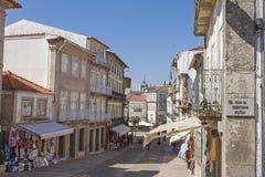 Valença do Minho. Portugal. Shopping street in the fortress city Valença do Minho. Portugal Royalty Free Stock Photography