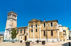 The Valence Cathedral, a Roman Catholic church in France. The Saint Apollinaris Cathedral of Valence, a Roman Catholic church in Drome, France royalty free stock photo