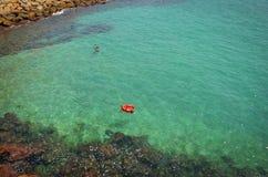 Valencia's最著名的海滩 棕榈树夏天散步Spanien巴伦西亚 库存图片
