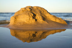 Valencia. Mountain of sand on a beach in the Mediterranean Royalty Free Stock Image