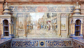Valencia. Andalusian ceramic Poster depicting historic moments of the city of Valencia Royalty Free Stock Photo