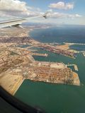 Valencia coast from above. View from airplane window to Valencia coast and city Stock Photos