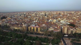 Valencia aerial city view, Spain. Aerial panorama of Valencia with green parks and city centre, Spain stock footage