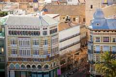 Valencia aerial skyline with calle la Paz Royalty Free Stock Photos