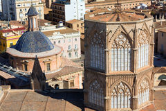Valencia aerial skyline with Cathedral tower Royalty Free Stock Image