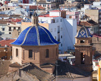 Valencia aerial skyline  Jesuitas church Royalty Free Stock Photo