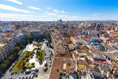 Valencia aerial skyline with Plaza de la Reina Stock Photo