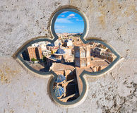 Valencia aerial skyline with Plaza de la virgen Royalty Free Stock Images