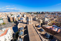 Valencia aerial skyline with Plaza de la virgen Stock Images