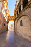 Valencia arch between Cathedral and Basilica Spain. Valencia corridor arch between Cathedral and Basilica Desamparados in Spain Royalty Free Stock Photography