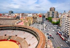 Valencia Arena Plaza de Toros de Valencia e paesaggio urbano, Spagna fotografie stock