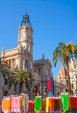 Valencia Ayuntamiento city town hall with fallas flags Royalty Free Stock Images