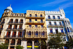 Valencia Ayuntamiento sq Casa Ferrer and Noguera Stock Photography